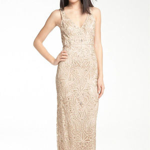SUE WONG V Neck Embroidery Overlay CHAMPAGN 0 #212